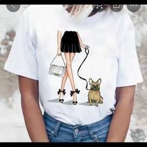 Tops - Cute French Bulldogs Graphic T-shirt